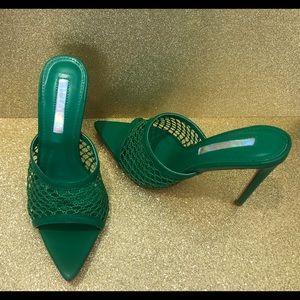 NWB Green Mule Heels